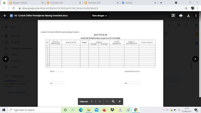 Contoh Format Daftar Peminjaman Barang Inventaris