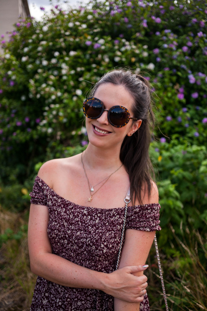 Outfit: off shoulder maxi dress, tortoise sunglasses