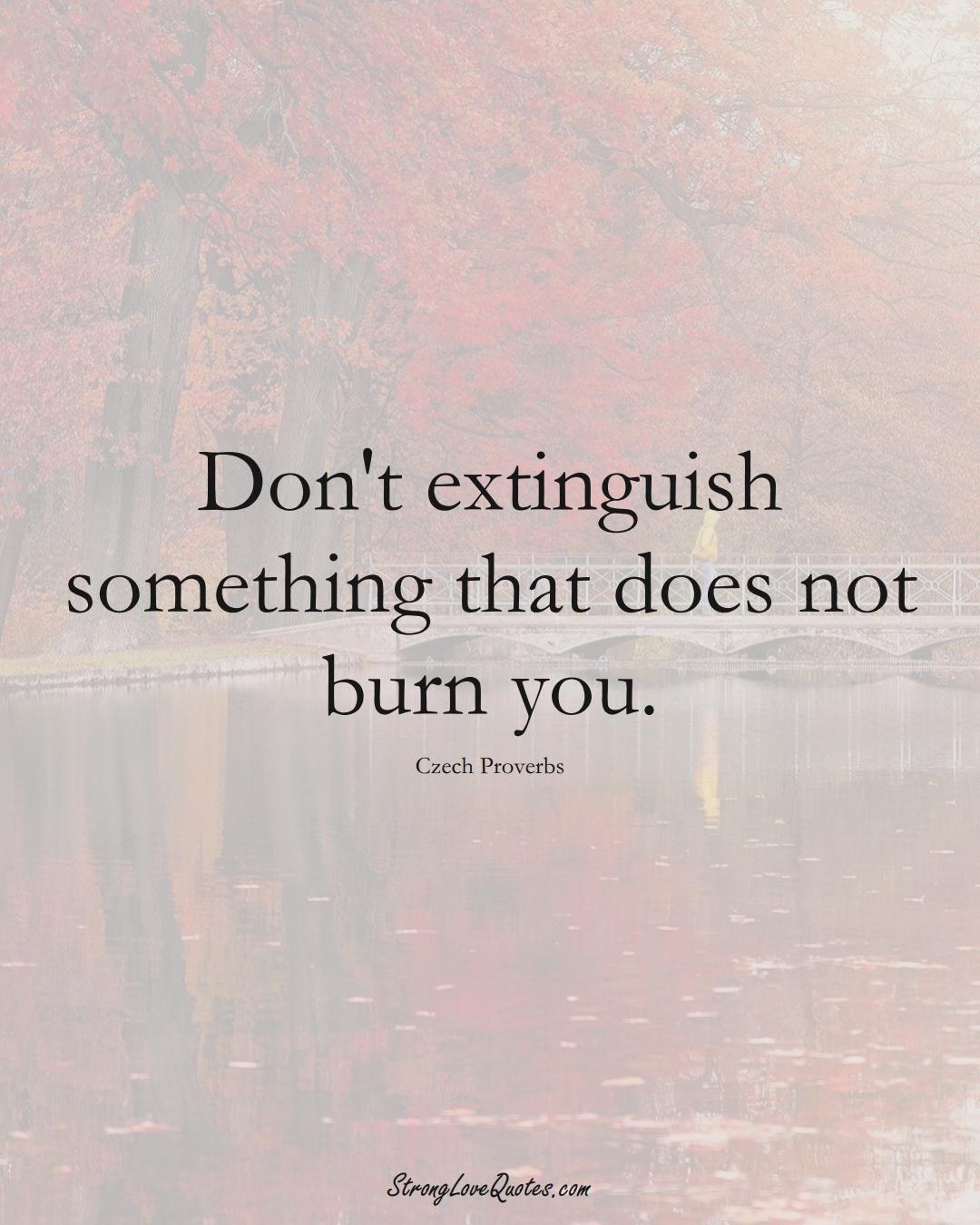 Don't extinguish something that does not burn you. (Czech Sayings);  #EuropeanSayings