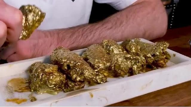GILAA !!!! Begini lah Harga Sayap Ayam Yang Ditambah Emas !