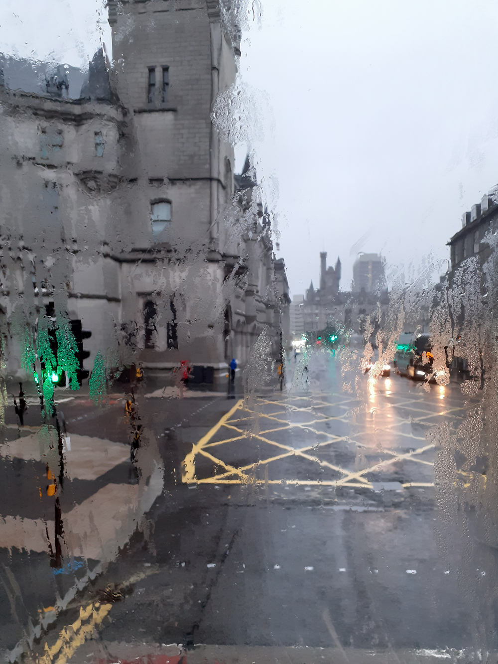 Aberdeen from a bus window on a rainy day