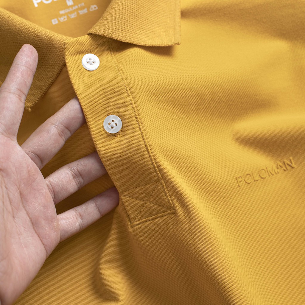 Áo thun Polo nam cổ bẻ vải cá sấu Cotton xuất xịn, chuẩn đẹp, màu Vàng P11 - POLOMAN