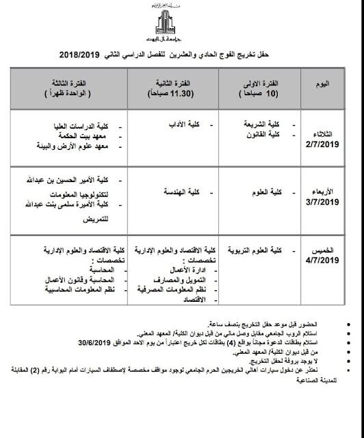 مواعيد حفل تخريج الفوج الحادي والعشرين للفصل الدراسي الثاني 2018/2019