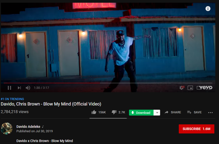 BREAKING : Davido Sets Another YouTube Record With His New Single, 'Blow My Mind'