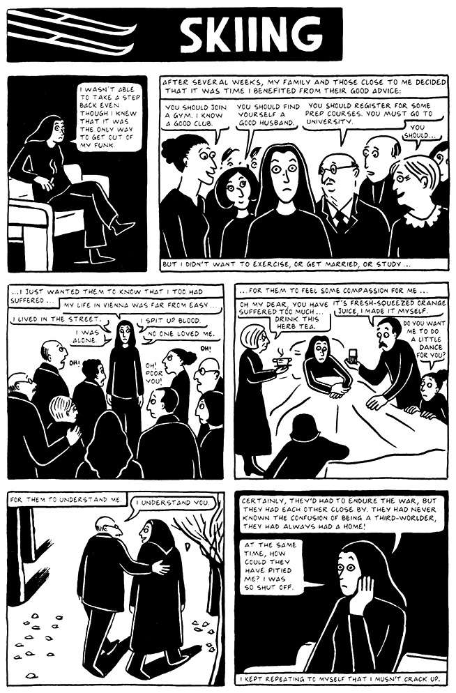 Read Chapter 12 - Skiing, page 113, from Marjane Satrapi's Persepolis 2 - The Story of a Return