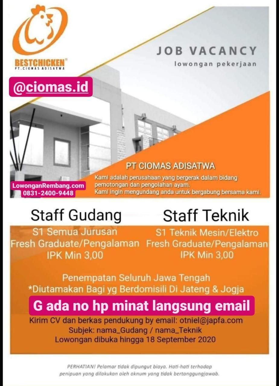 Lowongan Kerja Staff Gudang Dan Staff Teknik Japfa PT Ciomas Adisatwa Penempatan Jawa Tengah
