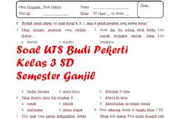 Soal UTS BP Kelas 3 SD Semester 1 [Tahun Pelajaran 2019/2020]
