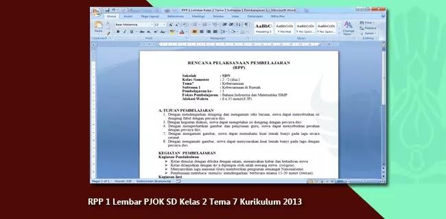 RPP 1 Lembar PJOK SD Kelas 2 Tema 7 Kurikulum 2013