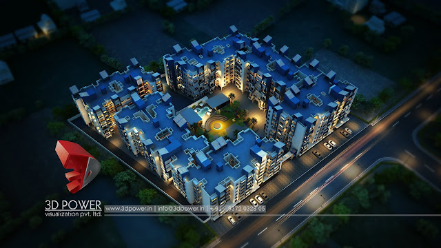 architectural-rendering-township-birds-eye-night-view