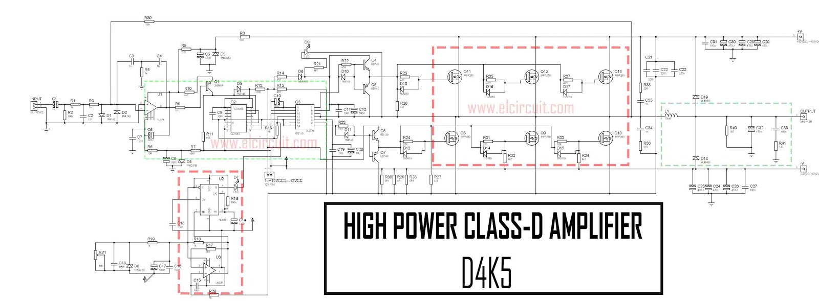 power amplifier class d d4k5 4500w circuit diagram [ 1600 x 589 Pixel ]