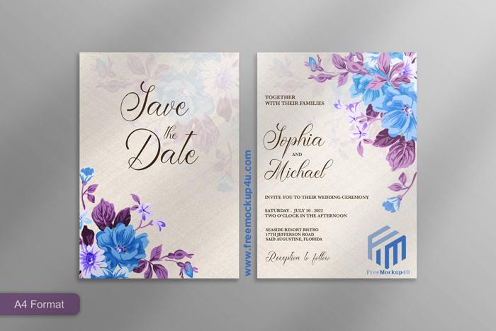 Beautiful Wedding Invitation With Blue Purple Flower