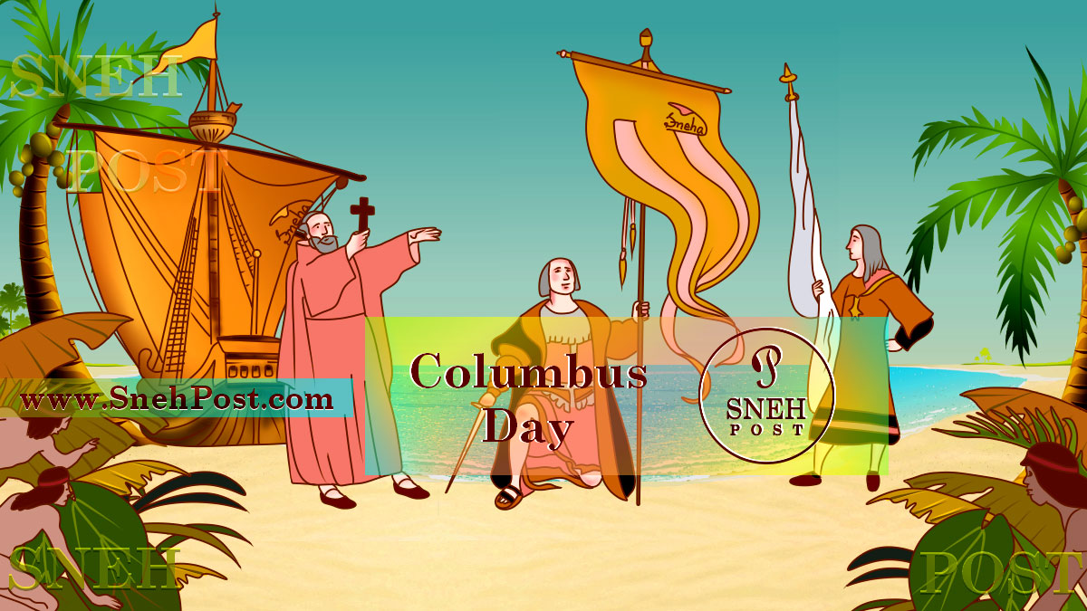 Columbus Day illustration of Italian Explorer Christopher Columbus, the first one from the Old World Africa Asia and Europe who landed at the shores of the New World (The Americas)