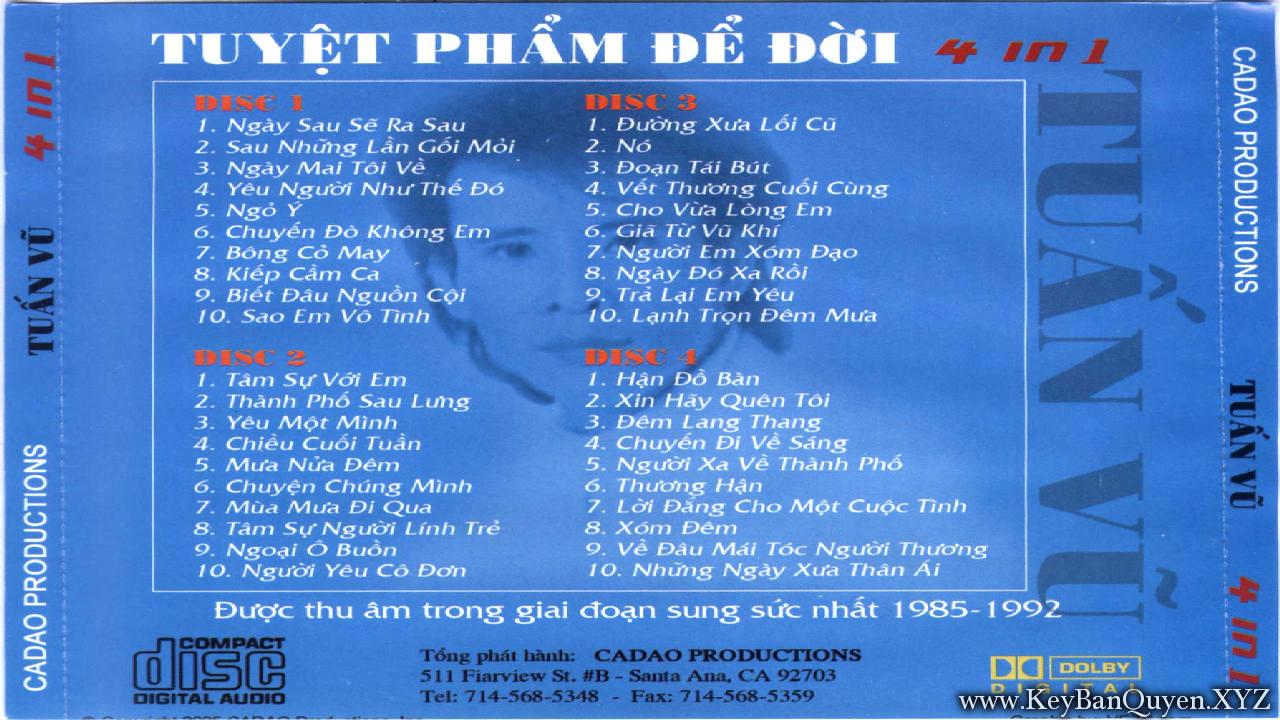 4CD nhạc Tuấn Vũ - Tuyệt Phẩm Để Đời - FLAC
