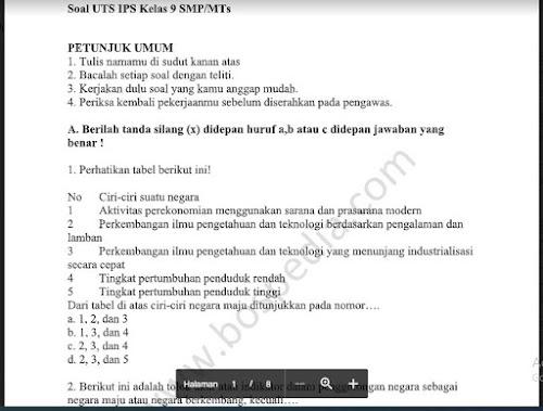 Soal PTS Ilmu Pengetahuan Sosial (IPS) Kelas 9 Sem. Ganjil Kurikulum 2013
