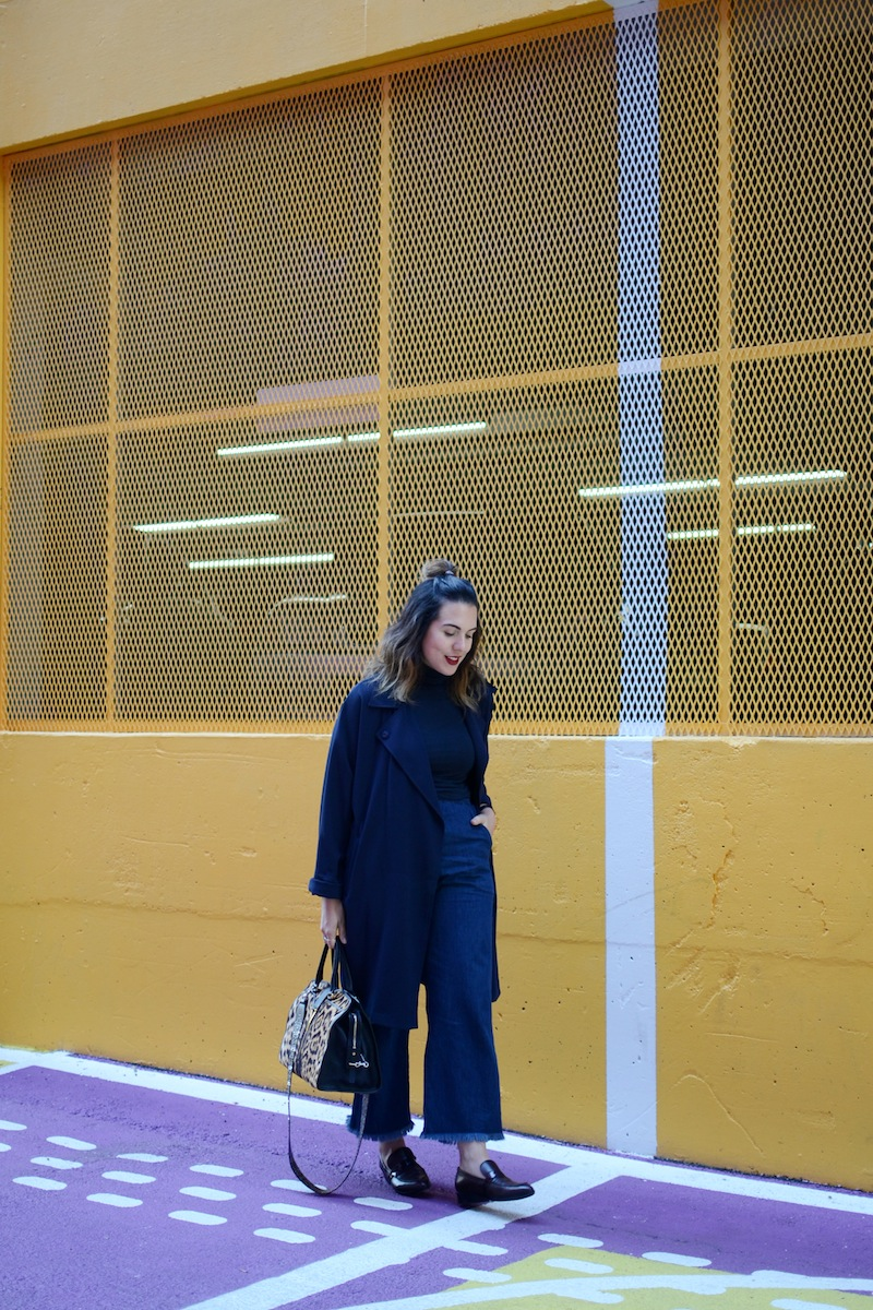 Geox Lover loafers, Kit and Ace turtleneck shirt, ripped hem Zara jeans Vancouver fashion blogger monochrome blue outfit