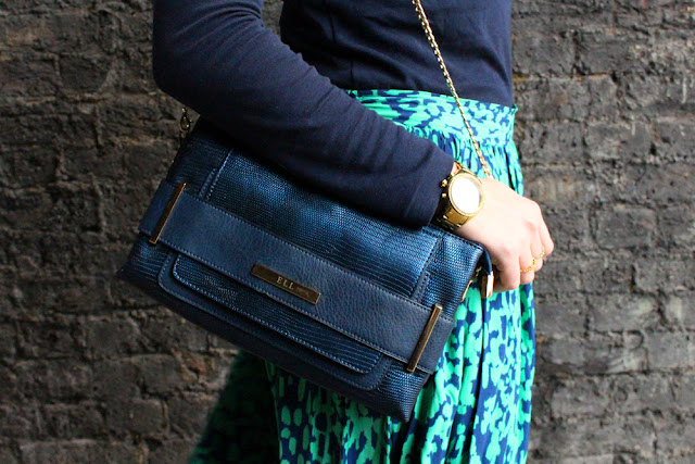 Green midi skirt and navy blue polo neck - London fashion blogger Emma Louise Layl