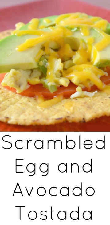 Cheesy Scrambled Egg and Avocado Tostadas Recipe from Hot Eats and Cool Reads! This breakfast can be ready in 15 minutes! Great for busy weekday mornings or add it to your weekend brunch!