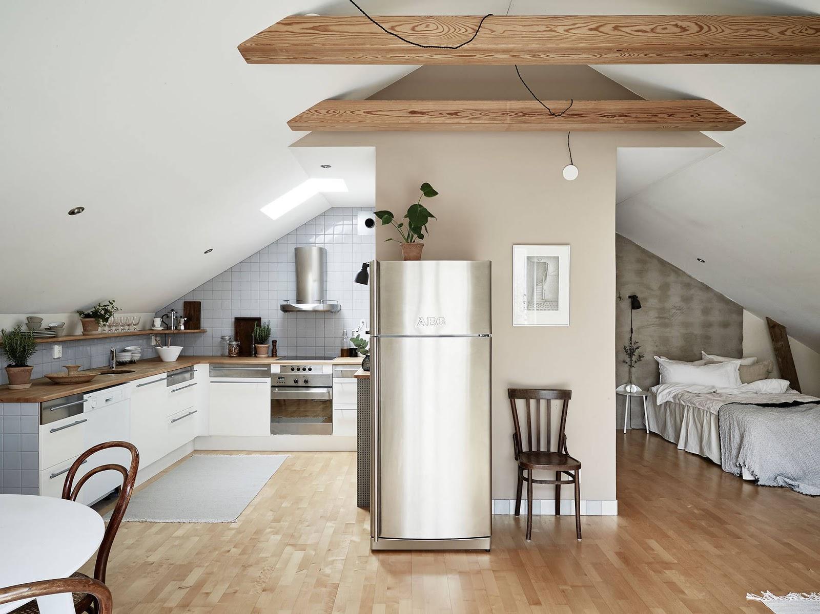 skośny dach w kuchni