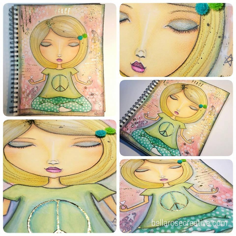 hand-drawn whimsical yoga girl | peace sign