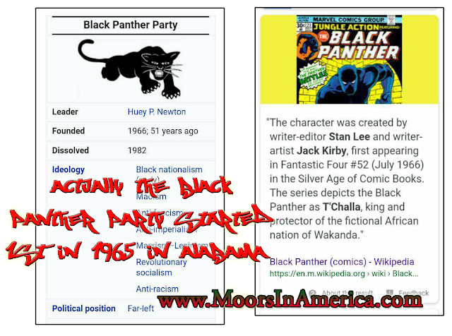 black panther party started before black panther comic