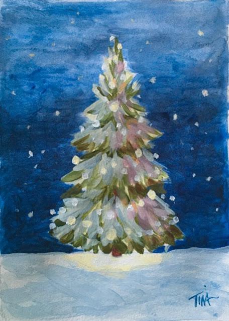 December Evening painting sketch, 5x7 acrylic,©2020 Tina M.Welter