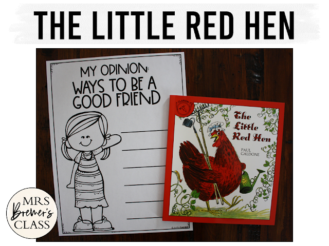 Little Red Hen book study literacy unit with Common Core aligned companion activities, class book, & craftivity for Kindergarten and First Grade