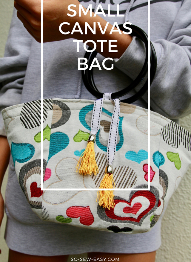 Learn how to make a small canvas tote bag. Free pattern and tutorial by So Sew Easy