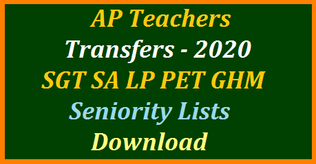 Teachers Transfers in Andhra Pradesh to be held in July 2020 through Web based Online counselling at official website www.cse.ap.gov.in . Once teachers have submitted Online Application for AP Teachers Transfers Online, Seniority lists will be prepared for SGT SA LP PET GHM based on entitlement points awarded as per the service and station seniority. Teachers need to Download category wise district wise seniority lists to submit web options online at cse.ap.gov.in or apcfss.transfers2020.in. AP Teachers Transfers 2020 Schedule Online Application Download Seniority Lists and Vacancy position for Submission of web options Online at the CSE AP official web portal Know the complete process