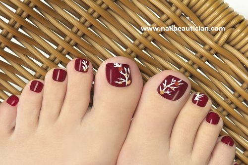 Leaf toe nail design