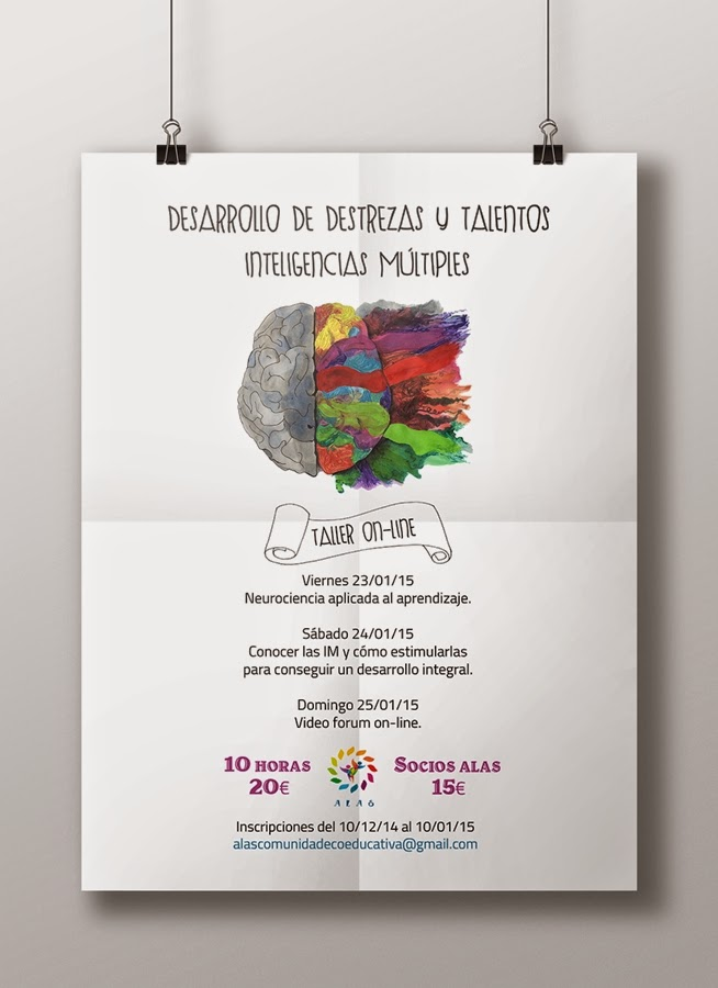 diseño, cartel, neurociencia, cerebro, color, cursos