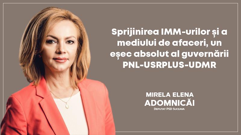 Mirela Adomnicai: Sprijinirea IMM-urilor și a mediului de afaceri, un eșec absolut al guvernării PNL-USRPLUS-UDMR