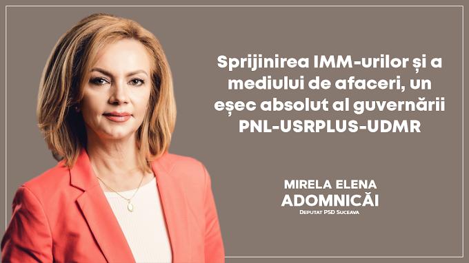 """Deputatul PSD Mirela Adomnicăi: """"Guvernul PNL-USRPLUS-UDMR a eșuat complet în sprijinirea IMM-urilor și a mediului de afaceri"""""""