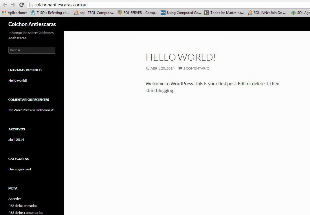 Instalacion limpia de wordpress