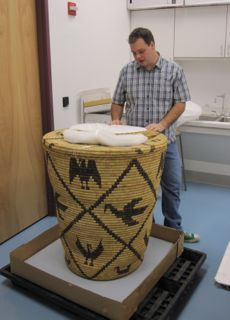 Basket conservation, repair and preservation of antique baskets, basket collections, old baskets, Native American baskets, large basket