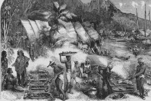 Para pelaut Makassar berdagang teripang di Pelabuhan Essington di Semenanjung Coburg di tahun 1845
