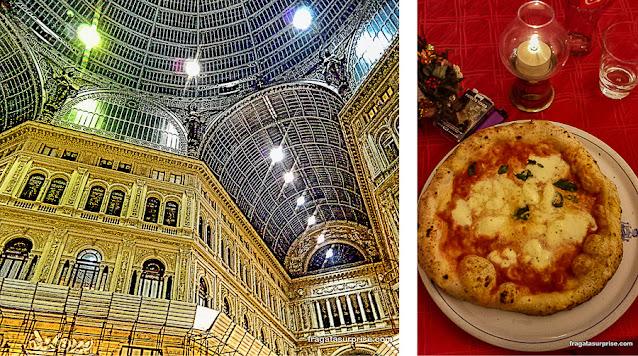 Galeria Umberto I e pizza margherita, Nápoles, Itália