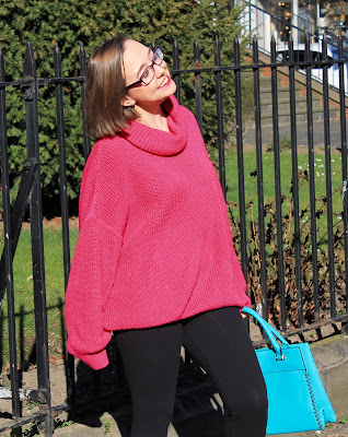 Femme Luxe Fuchsia Knitted Oversized Polo Neck Jumper