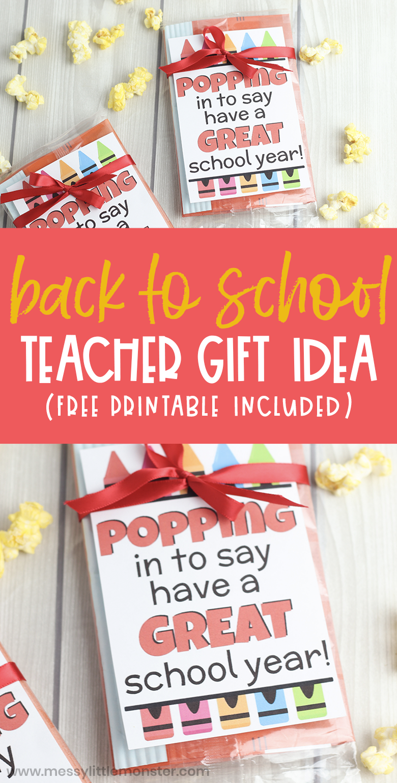 Back to school teacher gift idea. Popping in to say have a great school year printable gift tag. Student gifts from teacher or gifts to a teacher.