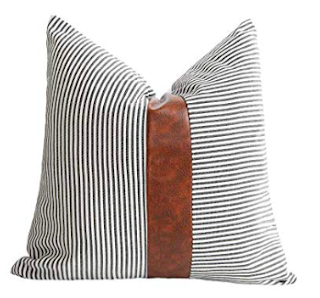 Black Pinstripe and Leather Throw Pillow
