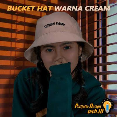 Bucket Hat Custom Desain Warna Cream Portfolio Design WEB ID