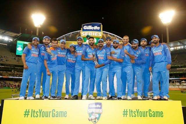 India wins the Gillette ODI Series in Australia