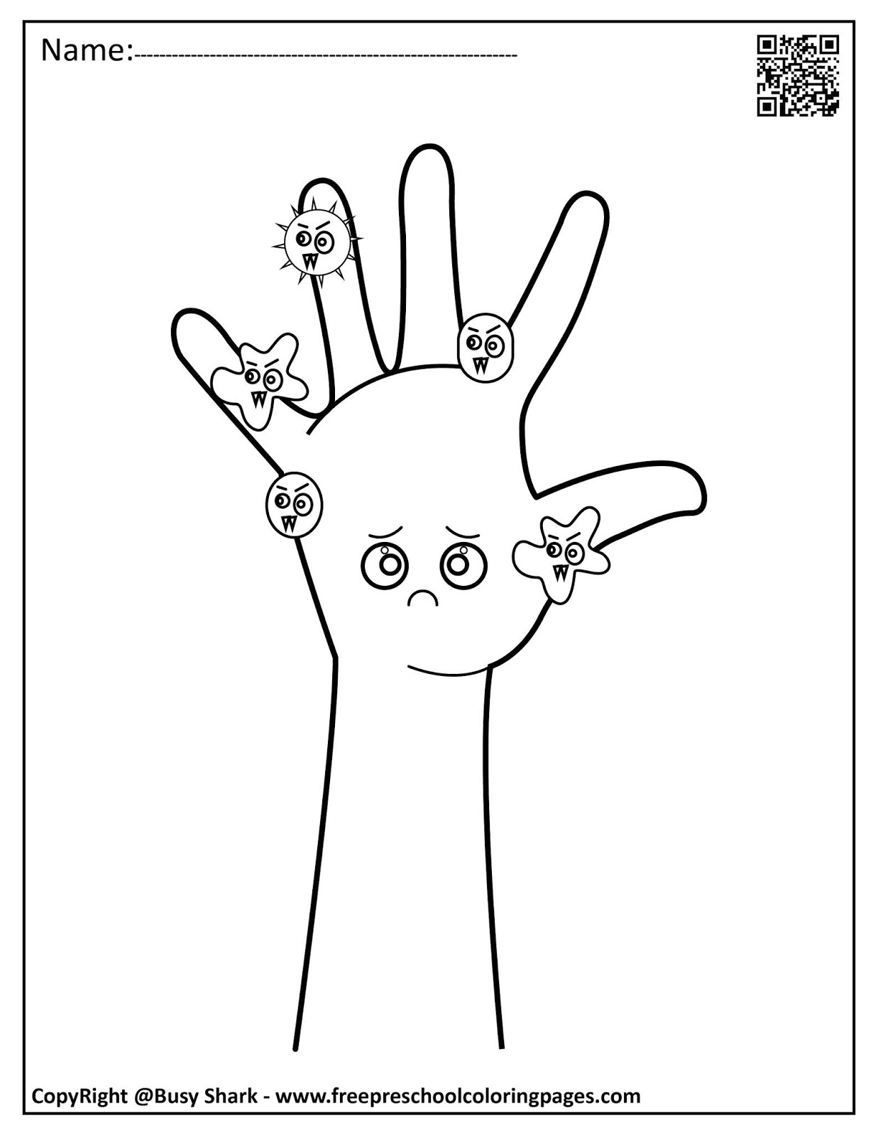 Set Of Hand Washing And Germs Coloring Pages