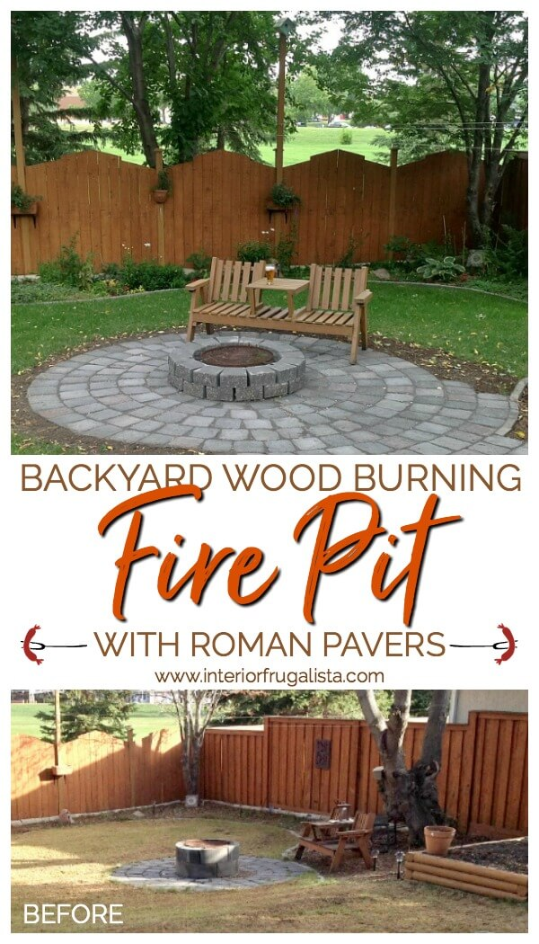 An urban wood burning backyard fire pit refresh encircled with roman pavers that comfortably fits eight to ten chairs for weiner roasts with friends. #outdoorliving #diyfirepit #cozybackyard
