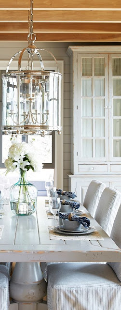 Beautiful, romantic farmhouse decor and country style in a dining room on Hello Lovely Studio