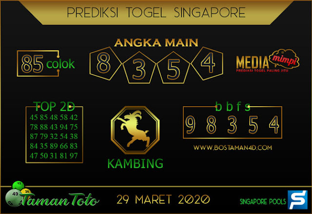 Prediksi Togel SINGAPORE TAMAN TOTO 29 MARET 2020
