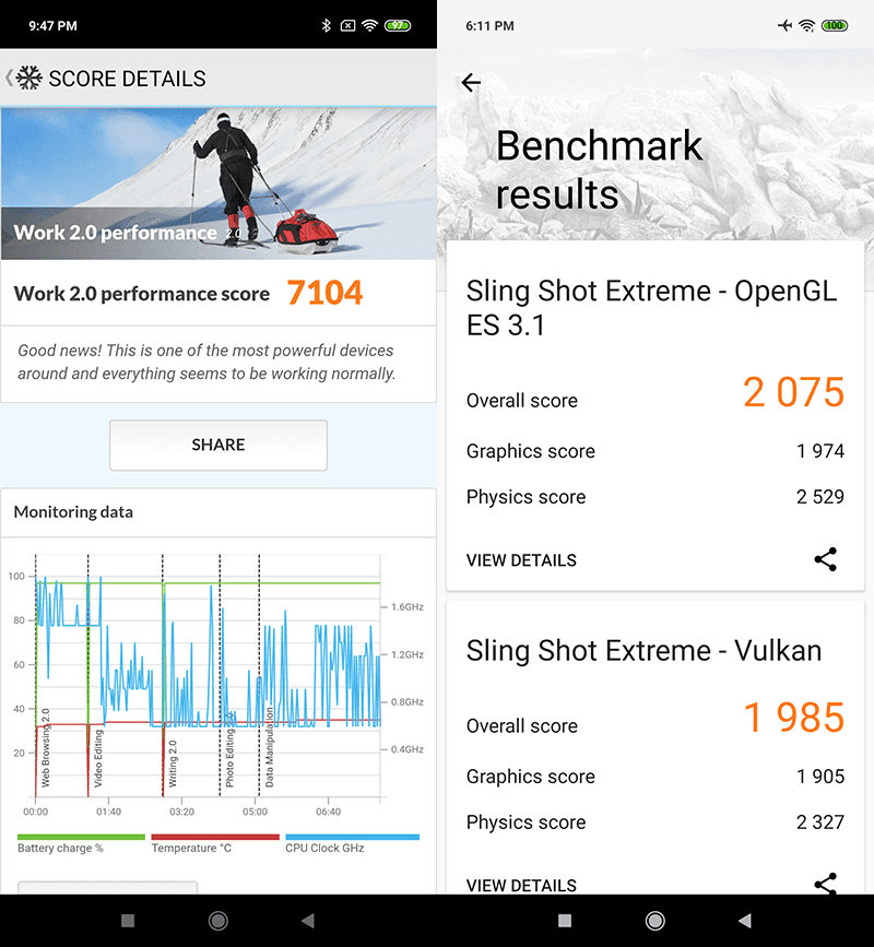 PC Mark Work 2.0 performance and 3DMark Sling Shot Extreme