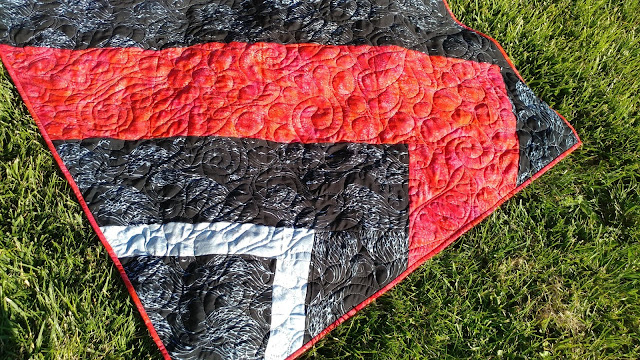 Modern quilt made with rayon fabrics