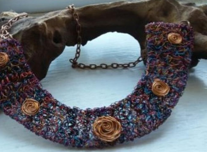 Yoke Style Wire Coiled Necklace Art