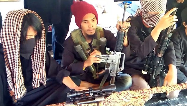 The Philippines has become the latest ISIS target for expansion after the jihadi group released its first propaganda video showing a jihadi training camp in the Filipino jungle. Photo from Daily Mail