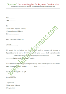 letter to supplier for payment confirmation